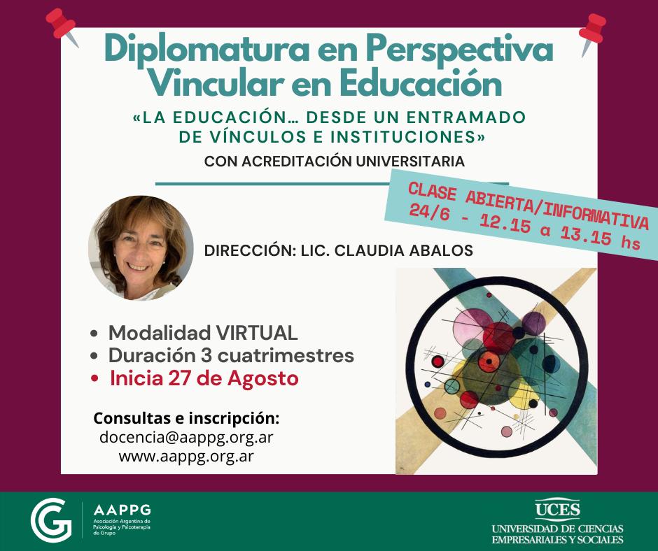 """INICIA VIERNES 27/8!!! """"Diplomatura en Perspectiva Vincular en Educación"""""""